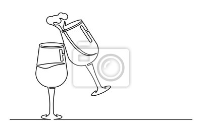 Continuous one line drawing vector illustration. Two glasses of wine. Creating splash. Black on the white background. Design element. Editable stroke.