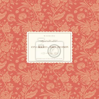 Coral karty ślub z rocznika bukiety kwiatów