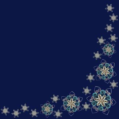 Corner wzór wykonany z papieru czerpanego płatki śniegu w technice Quilling na ciemnym niebieskim tle. Może być stosowany jako Bożego Narodzenia i Nowego Roku, na tle kart, serwetki, papier pakowy.