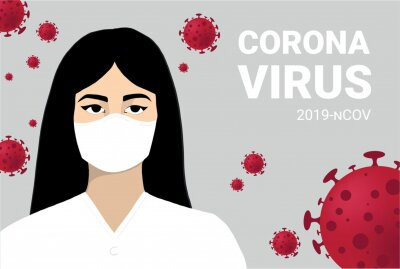 Coronavirus infographics vector. Infected woman illustration. CoV-2019 prevention, coronavirus symptoms and complications. Icons of fever, chill, sinusitis, diarrhea are shown.