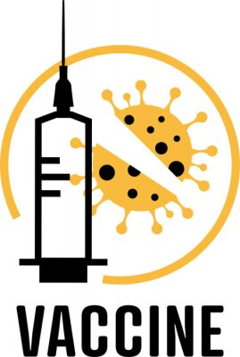 Coronavirus vaccine banner. Covid-19 vaccine. Flat vector logo.