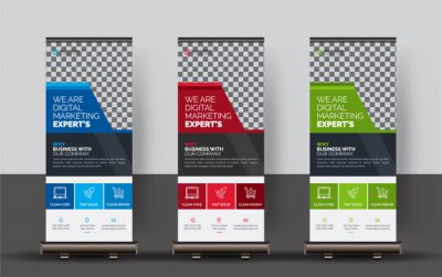 Naklejka Corporate Roll-up Banners, Set of roll up banner, roll up banner, banner, Corporate banner design, Pop up banner design, Creative banner, Banner eps.