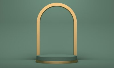 Cosmetics podium with golden arch on green background. Backdrop design for product promotion. 3d rendering