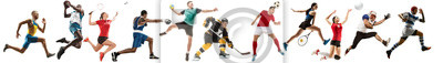 Naklejka Creative collage of sportive models running and jumping. Advertising, sport, healthy lifestyle, motion, activity, movement concept. American football, soccer, tennis volleyball box badminton rugby
