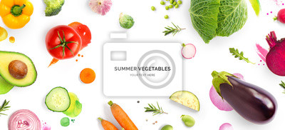 Naklejka Creative layout made of tomato, cucumber, pepper, onion, carrot, beetroot, eggplant, cabbage, garlic, broccoli and green beans on the watercolor background. Flat lay. Food concept.