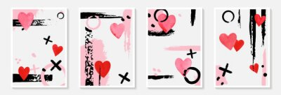 Creative minimalist hand draw Abstract art background with stain and shape, brush strokes, red watercolor hearts. Design for poster or brochure, greeting card and invitation of wedding, Valentine day.