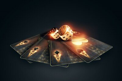 Naklejka Creative poker template, background design with golden playing cards and poker chips on a dark background. Casino concept, gambling, header for the site. Copy space, 3D illustration, 3D render.