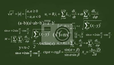 Naklejka Creative vector illustration of math equation, mathematical, arithmetic, physics formulas background. Art design screen, blackboard template. Abstract concept graphic element