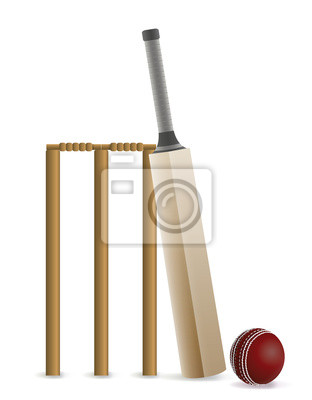 Cricket Bat, piłka i Furtka Ilustracja