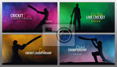 Naklejka Cricket Championship banner or poster, design with players and bats. Vector illustration.
