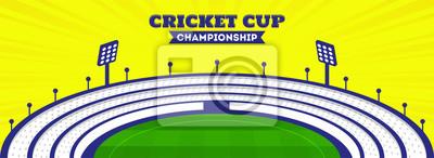 Naklejka Cricket cup championship header or banner design with cricket stadium view.