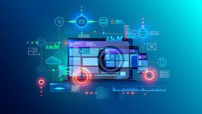 Naklejka Cross platform website, app design development on laptop, phone, tablet. Technology of create software, code of mobile applications. Programming responsive layout of graphic interface, ui, ux concept.