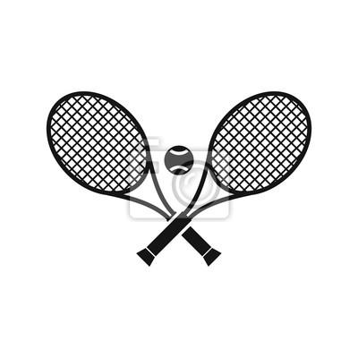 Naklejka Crossed rakiety tenisowe i ikona piłka w prostym stylu na białym tle ilustracji wektorowych
