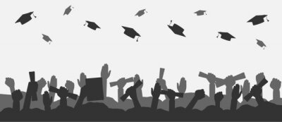 Naklejka Crowd of graduates throws up academic caps. Silhouettes of graduate people throwing cap and raised up hands with diploma. Concept of graduation university, college or high school. Vector illustration.