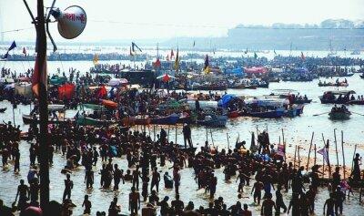 Naklejka Crowd Of Pilgrims At Ganges River During Kumbh Mela