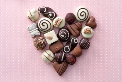 Naklejka Cukierki czekoladowe serca