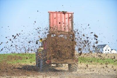 Naklejka culture agriculture epandage fumier fertilisation planete