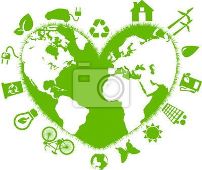 Naklejka Cuore, mondo, Ecologia