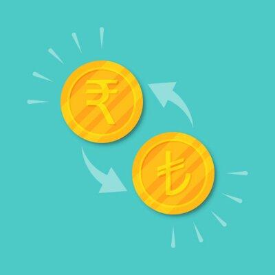 Naklejka Currency exchange rupee to lira. Golden coins money