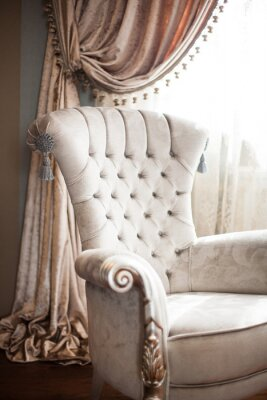 curtain in classic style in warm color. element of decoration luxury interior