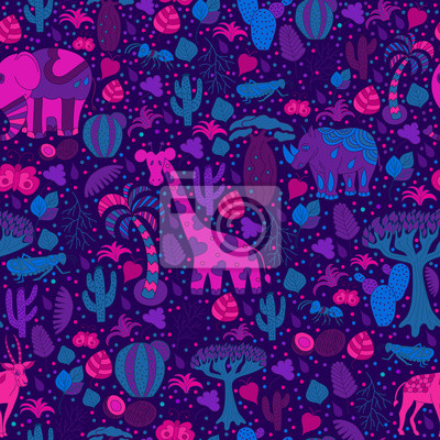 Cute Africa seamless pattern with wild animals from savanna: gir