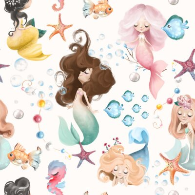 Naklejka Cute and beautiful seamless pattern - little mermaids, fishes and flowers watercolor illustration