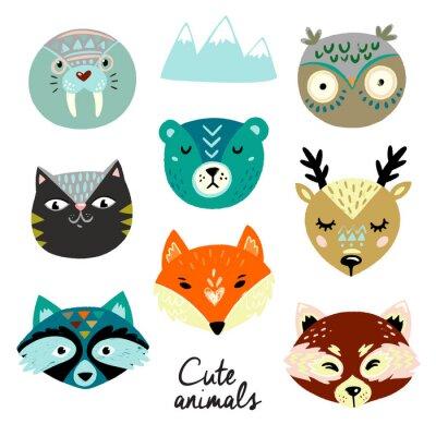 Naklejka Cute animals faces. Hand drawn baby design