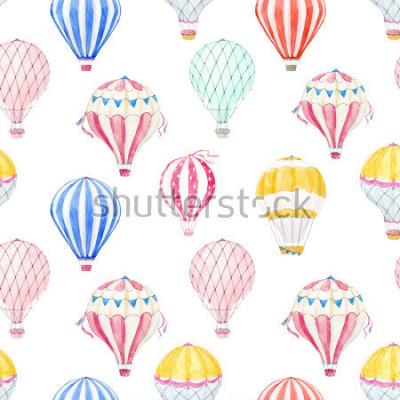 Naklejka Cute balloon watercolor pattern.  aerostat
