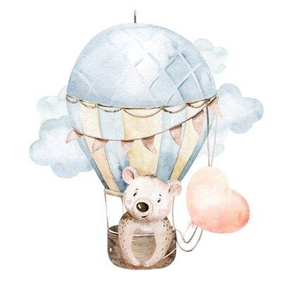 Naklejka Cute cartoon baby bear animal hand drawn watercolor bunny illustration with air balloon. kids nursery wear fashion design, baby shower invitation card.