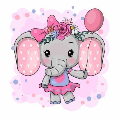 Naklejka Cute Cartoon Elephant with flowers on a white background