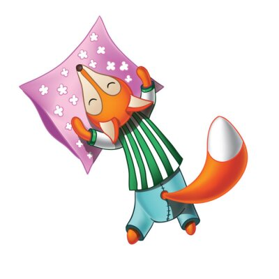 Naklejka Cute cartoon fox śpi w piżamie