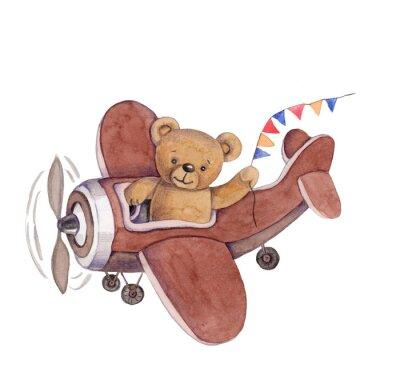 Naklejka Cute cartoon toy animal teddy bear in plane, watercolor illustration, hand draw, isolated on white.
