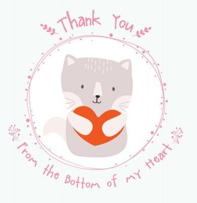 cute cat dziękuję karty
