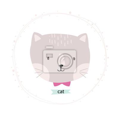 cute cat ilustracji wektorowych w wieniec kwiatów kartkę z życzeniami