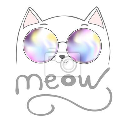 cute cat z napisem - Miau, graficznej ilustracji wektorowych, druk, zwierząt