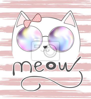 cute cat z różowym dziobem i napis - Miau, ilustracja wektor, T-shirt druku, zwierząt