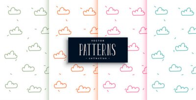cute doodle style clouds patterns set of four