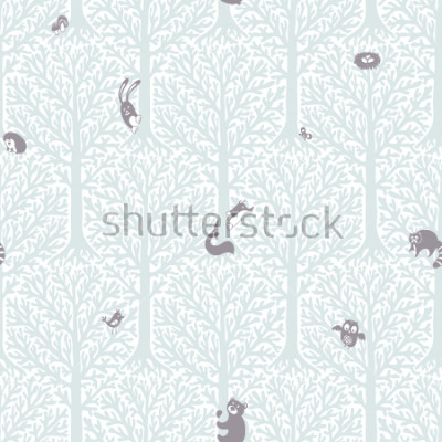 Naklejka Cute forest with animals and birds. Great decor and wallpaper for baby, kids and nursery room in Scandinavian style. Vector seamless pattern. Cute Nordic background with forest animals in the woods