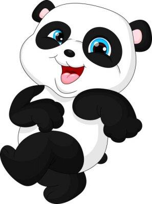 Naklejka Cute funny baby panda