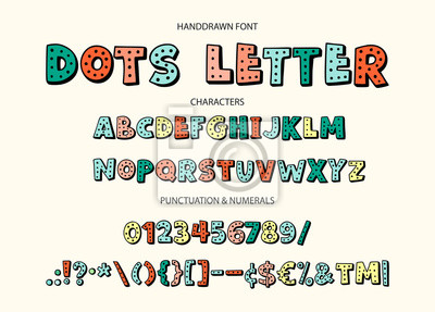Cute hand drawn dots display vector alphabet ABC font with letters, numbers, symbols. For calligraphy, lettering, hand made quotes.
