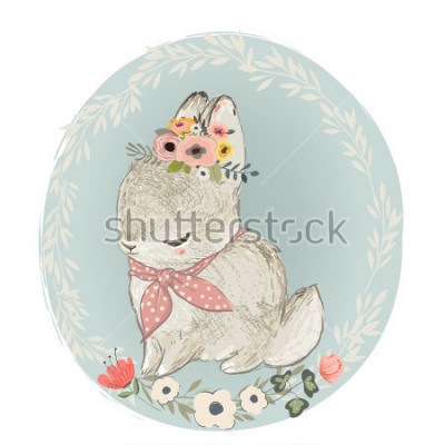 Naklejka Cute Hare with Floral Wreath