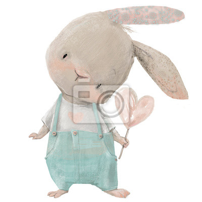 Naklejka cute hare with heart in hand