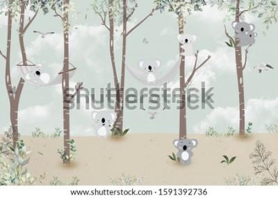 Naklejka Cute koalas playing in the jungle