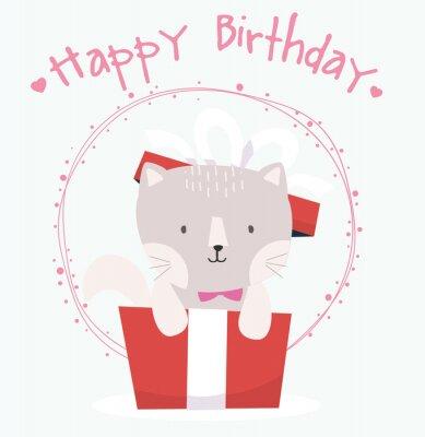 Cute Kot szczęśliwy kartka urodzinowa