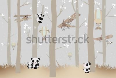 Naklejka cute pandas playing in the forest wallpaper