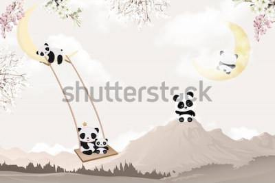 Naklejka cute pandas playing kids room wallpaper design
