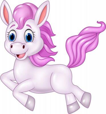 Naklejka Cute pony konia z systemem odizolowane na białym tle
