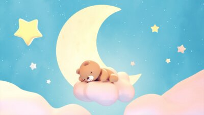 Naklejka Cute sleeping bear on lake green color background. Beautiful pastel pink clouds, yellow crescent moon, and stars. 3d rendering picture.