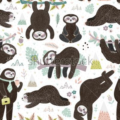 Naklejka Cute sleeping sloths seamless pattern. Adorable animal background. Vector illustration
