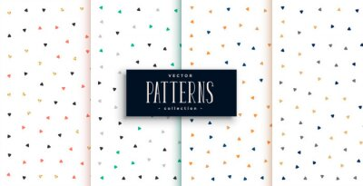 cute small triangles pattern on white background set